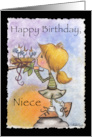 Happy Birthday for Niece-Little Girl and Bird Nest-Precious Package card