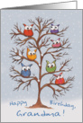 Birthday for Grandma-Owls in Snowy Tree card