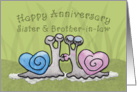 Anniversary Sister and Brother-in-law- Kissing Snails, Heart Shaped Shells card