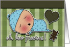 Congratulations on Birth of Baby Boy Sleeping Baby Heart and Bear card