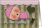 Congratulations on Birth of Baby Girl Sleeping Baby Heart and Bear card