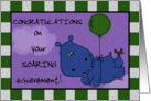 Congratulations on your Graduation-Hippo Soaring with Balloon card