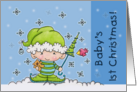 Baby's First Christmas- Baby Elf in the Snow card