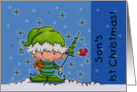 Son's First Christmas Baby Elf in the Snow card