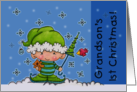 Grandson's First Christmas Baby Elf in the Snow card
