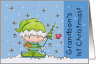 Grandson's First Christmas- Baby Elf in the Snow card
