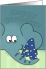 Happy Birthday for Four Year Old- Elephant with Number Four card