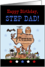 Happy Birthday for Texan Step Dad-Native Texas Animals card
