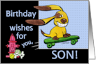 Birthday for Son- Skateboarding Dog-yEARS Fly By card