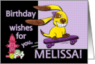 Birthday for Melissa Skateboarding Dog-yEARS Fly By card