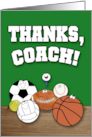 Thanks Coach-Sports Ball Characters card