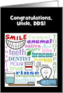Customizable Congratulations Dentist for Uncle-Dental Terms Subway Art card