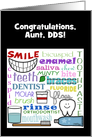 Customizable Congratulations Dentist for Aunt-Dental Terms Subway Art card