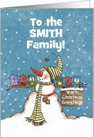 Custom Name Christmas Greetings - Snowman and Bird Friends card