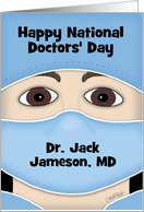 Personalized Happy National Doctors' Day-Male Face in Doctor's Attire card