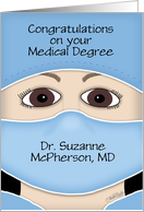 Personalized Congratulations on Medical Degree for Female- Face Mask card