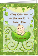 Customizable Congratulations on New Baby-Baby in Pea Pod Stroller card