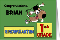 Personalized Congratulations on Graduating Kindergarten-Dog with Cap card