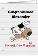 Personalized Congratulations on Graduating Kindergarten Dog with Cap card