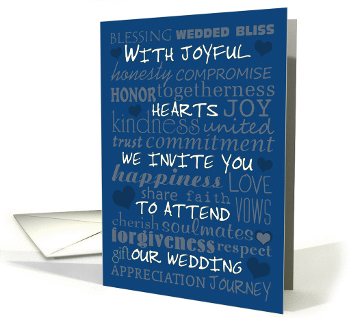 Wedding Invitation in Monaco Blue -Wedding Terms Collage card