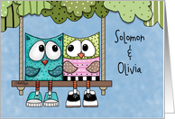 Customizable Happy Anniversary for Name Specific Owls on Tree Swing card