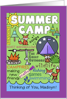 Customizable Name Thinking of You Summer Camp Camp Theme Subway Art card
