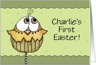 Customizable Name Charlie First Easter-Hatching Chick card