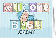 Personalized Name Welcome Baby Boy-Colorful Blocks and Sleeping Baby card