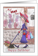 Happy Birthday Lady in Red Hat Shopping with Yorkie card
