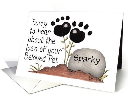 Customizable Name Pet Sympathy-Paw Print Flowers and Gravestone card