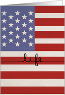 Veterans Day Thank You-Life on the Line American Flag card