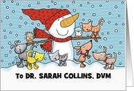 Snowman w/ Small Animals- Customizable Christmas For Veterinarian card