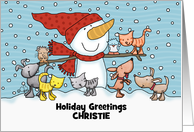 Snowman w/Small Animals- Customizable Name Christie Christmas Greeting card
