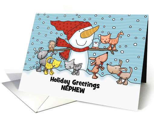 Snowman Small Animals Customizable Christmas Greeting for Nephew card