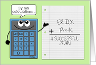 Personalized Back to School for Boy- Erick & Pre K -Blue Calculator card
