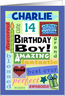 Happy Birthday Name and Age Specific Charlie 14-Good Word Subway Art card