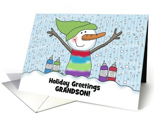 Snowman Snow Cone Customizable Name Merry Christmas for Grandson card