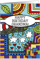 Happy Birthday for Grandma-Zen, tangle, doodle Colorful Pattern card