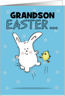 Hopping Bunny and Chick- Customizable Happy Easter for Grandson card