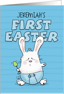 Customized Name First Easter for Jeremiah- Bunny Rabbit in Blue Diaper card