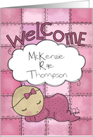 Customizable Congratulations on New Baby Girl-Welcome-Baby on Quilt card