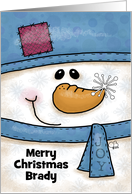 Customizable Name Merry Christmas for Brady-Snowman with Snowflakes card