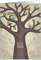 Customizable Initials Anniversary-Tree with Birds- Carved Initials card