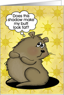 Humorous Happy Groundhog Day- Groundhog and his Shadow card