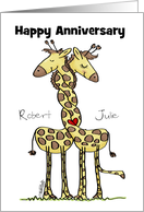 Customizable Happy Anniversary-Name Specific-Wound Up Giraffes card