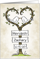 Customizable Names and Date Congratulations on Marriage-Love Doves card