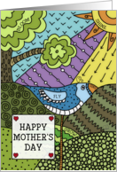 Happy Mother's Day-Bird and Nature Doodle Pattern card