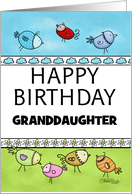 Customized Happy Birthday for Granddaughter-Flock of Whimsical Birds card