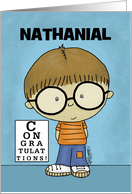 Customize Name Congratulations Getting Glasses- Little Boy-Nathanial card
