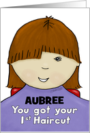 Customize Name Aubree-Congratulations First Haircut- Little Girl-Red card